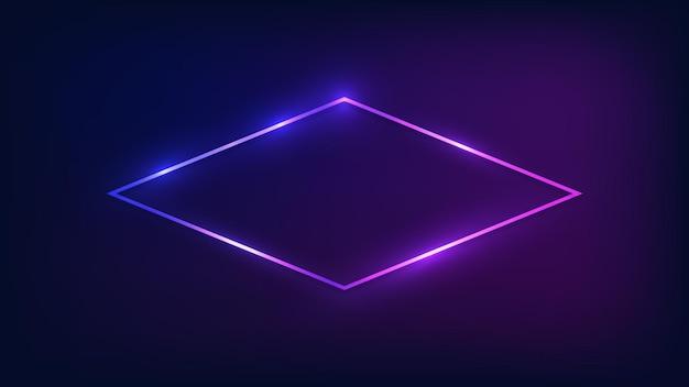 Cadre néon losange avec effets brillants sur fond sombre. toile de fond techno rougeoyante vide. illustration vectorielle.