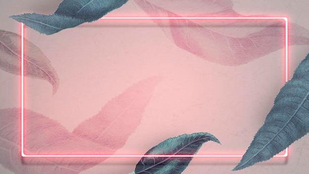 Cadre néon avec modèle social de feuilles de pêche