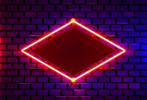 Cadre néon sur un mur de couleur brique. élément de conception de modèle.