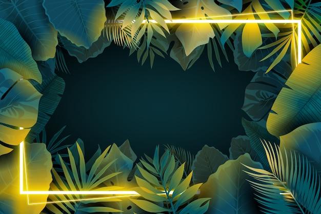 Cadre néon réaliste avec des feuilles