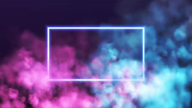 Cadre néon rectangle abstrait sur fond de fumée rose et bleu. lignes de lumière rougeoyante de vecteur. fond de nuage de néon et de fumée. illustration vectorielle eps10