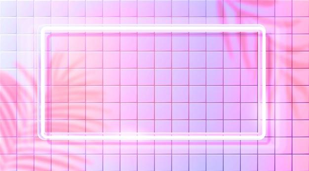 Cadre néon, rectangle lumineux brillant. lampe fluorescente blanche sur fond de mur de carreaux roses. tendance esthétique nature et techno. superposition d'ombre de feuilles de palmier tropique.