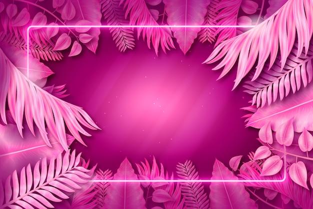Cadre néon rose avec des feuilles