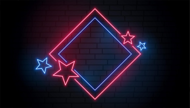 Cadre néon rouge et bleu avec des étoiles