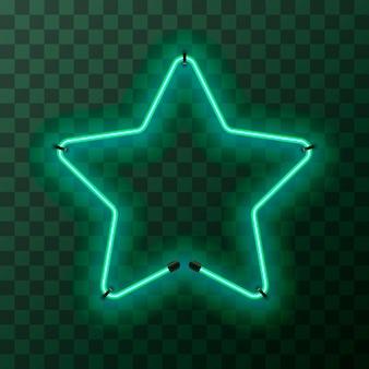 Cadre néon turquoise brillant en forme d'étoile sur fond transparent