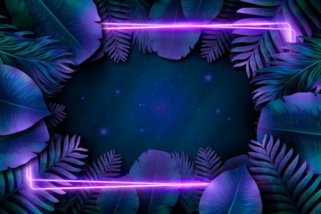 Cadre néon violet avec des feuilles