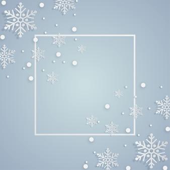Cadre de noël avec des flocons de neige décorations