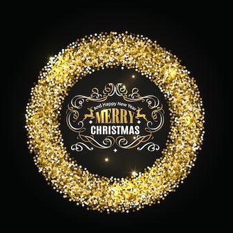 Cadre de noël de paillettes d'or avec des éléments de calligraphie.