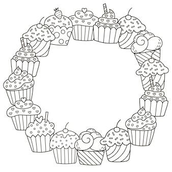 Cadre noir et blanc avec de jolis cupcakes pour cahier de coloriage