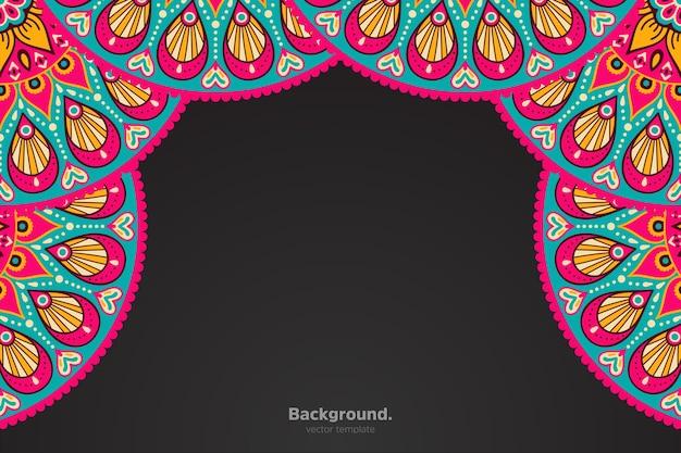 Cadre noir avec mandala oriental abstrait