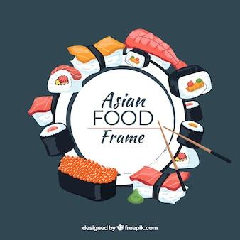 Cadre avec de la nourriture asiatique