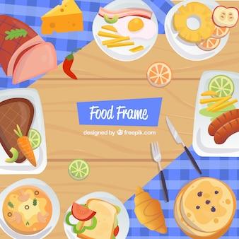 Cadre de nourriture avec un design plat
