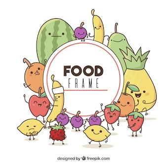 Cadre de nourriture avec des dessins animés