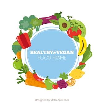 Cadre de nourriture avec des légumes et des fruits