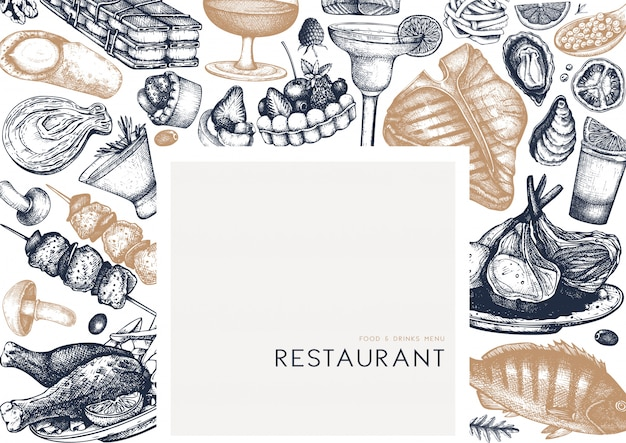 Cadre de nourriture de restaurant. boissons dessinées à la main, viandes, fruits de mer, poissons, légumes et illustrations de desserts. vue de dessus de nourriture et de boissons. vintage fond gravé pour le menu du restaurant ou du café.