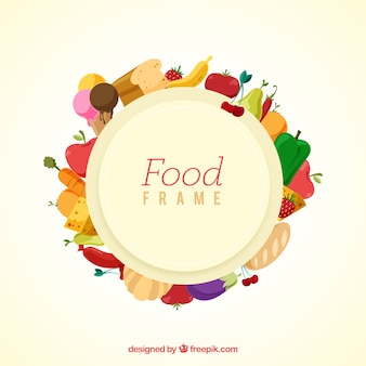 Cadre de nourriture saine avec un design plat