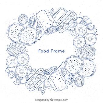 Cadre de nourriture avec style dessiné à la main
