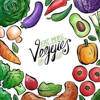 Cadre de nourriture végétalien aquarelle