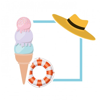 Cadre avec des objets d'été