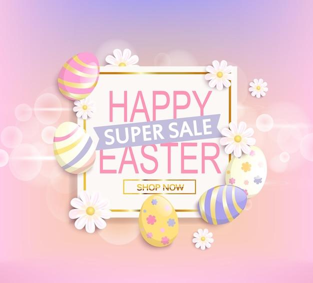 Le cadre avec des œufs et des fleurs et le texte de super vente joyeuses pâques dans cette illustration vectorielle.