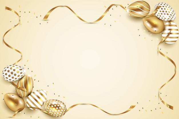 Cadre d'oeufs de pâques or et blanc avec fond de rubans et confettis or