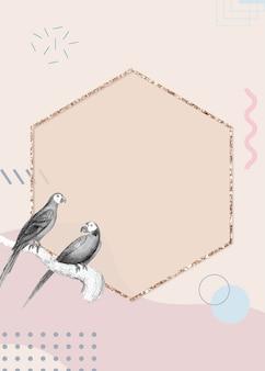 Cadre oiseau hexagone doré