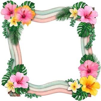 Cadre ondulé en bois aquarelle avec des fleurs tropicales