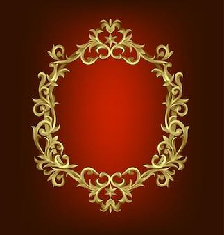 Cadre or baroque vintage premium ornement de défilement gravure frontière floral