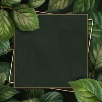 Cadre d'or sur le modèle de vecteur de fond de motif de feuillage