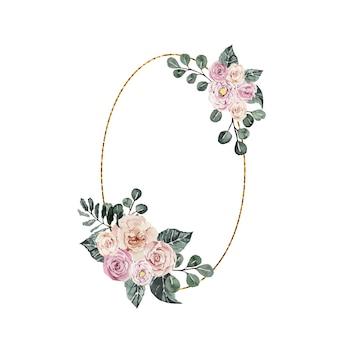 Cadre or ovale aquarelle avec des bouquets de fleurs de roses roses