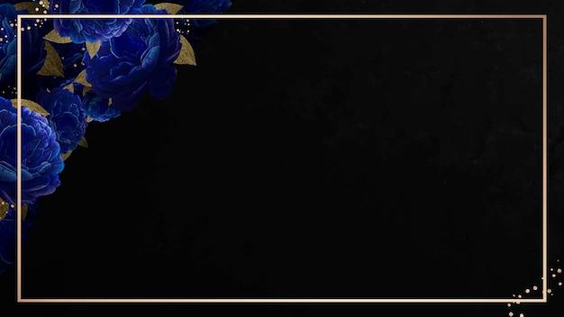 Cadre d'or sur le vecteur de fond noir à motifs de fleurs bleues