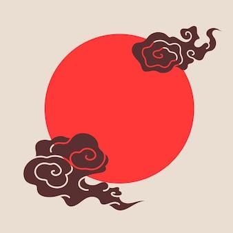 Cadre oriental rouge, vecteur d'illustration de nuage chinois