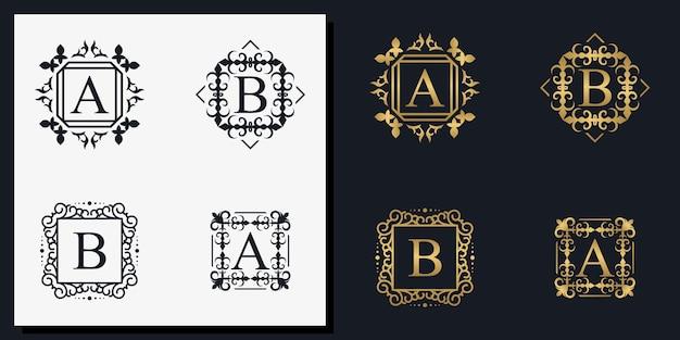 Cadre d'ornement créatif lettres a et b s