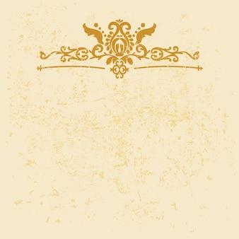 Cadre d'ornement horizontal or vintage élégant fond de vecteur avec grunge et motif