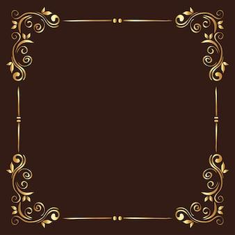 Cadre d'ornement or sur fond marron du thème de l'élément décoratif
