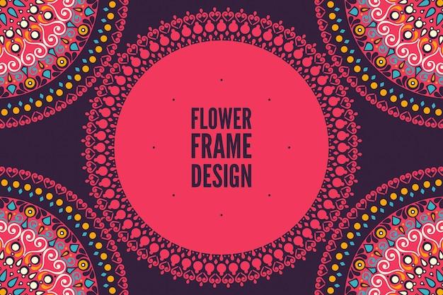 Cadre d'ornement rond coloré de fleur