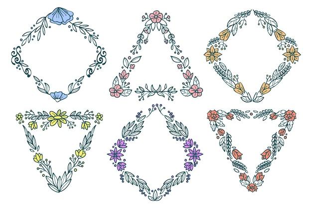 Cadre ornemental de différentes formes avec des fleurs