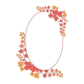 Cadre ovale avec couronne florale de maple leaf