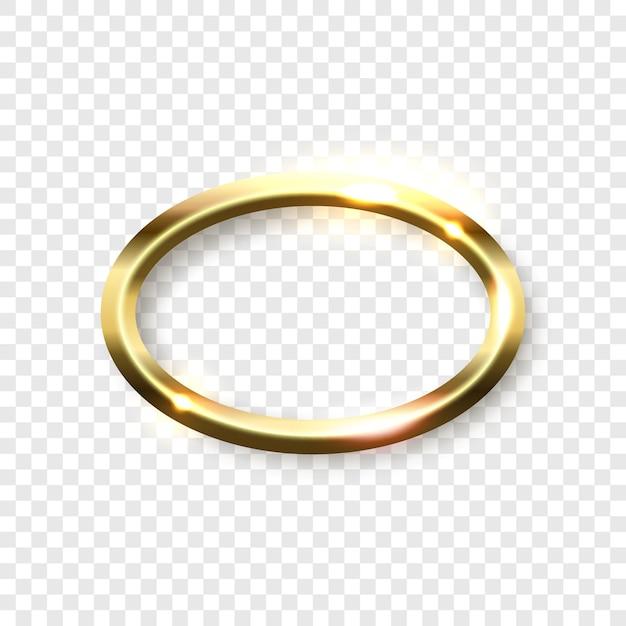 Cadre ovale doré brillant abstrait sur fond transparent