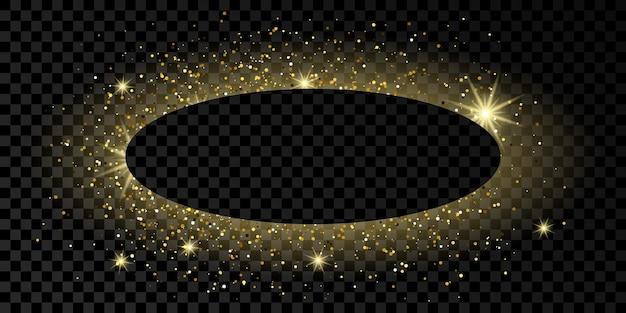 Cadre ovale doré avec des paillettes, des étincelles et des fusées éclairantes sur fond transparent foncé. toile de fond de luxe vide. illustration vectorielle.