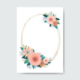 Cadre ovale fait de fleurs