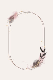 Cadre Ovale Floral Pailleté Vecteur gratuit