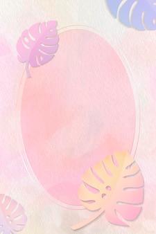 Cadre ovale sur fond de monstera