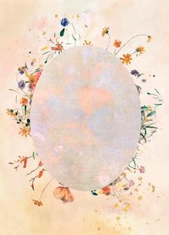 Cadre ovale avec fond à motifs botaniques