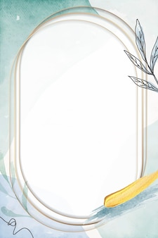 Cadre ovale en or sur fond floral vert