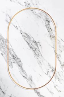 Cadre ovale en or sur un vecteur de marbre