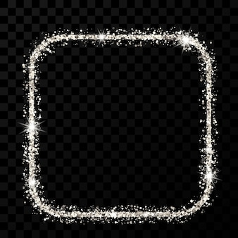 Cadre à paillettes argentées. carré avec cadre aux coins arrondis avec des étincelles brillantes sur fond transparent foncé. illustration vectorielle