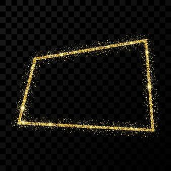 Cadre de paillettes d'or. cadre rectangle avec des étoiles brillantes et des étincelles sur fond transparent foncé. illustration vectorielle