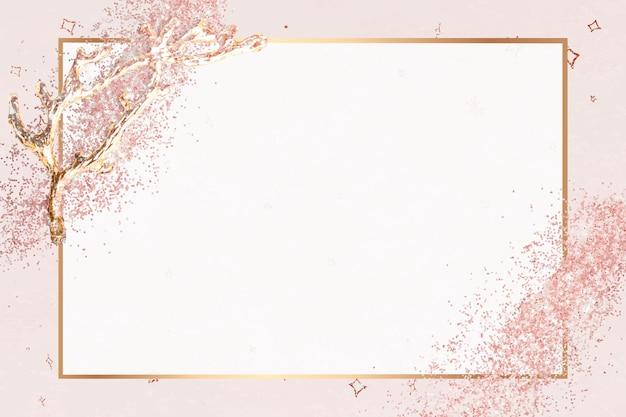 Cadre de paillettes d'or rose rose festive