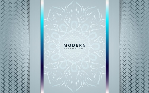 Cadre en papier argenté de luxe avec décoration d'ornement de mandala